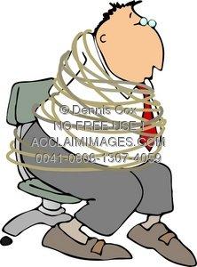 Clipart Illustration: Man Tied Up.