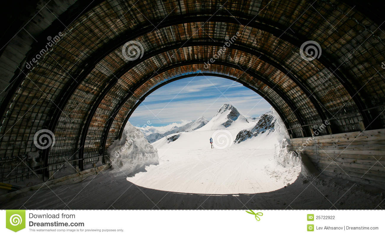 Tiefenbach Glacier Ski Tunnel, Solden, Austria. Stock Photography.