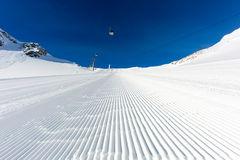 Skiing On Tiefenbach Glacier In Solden Stock Photo.