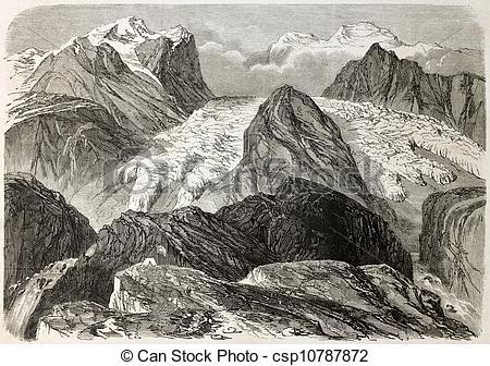 Stock Illustrations of Tiefenbach glacier old illustration.