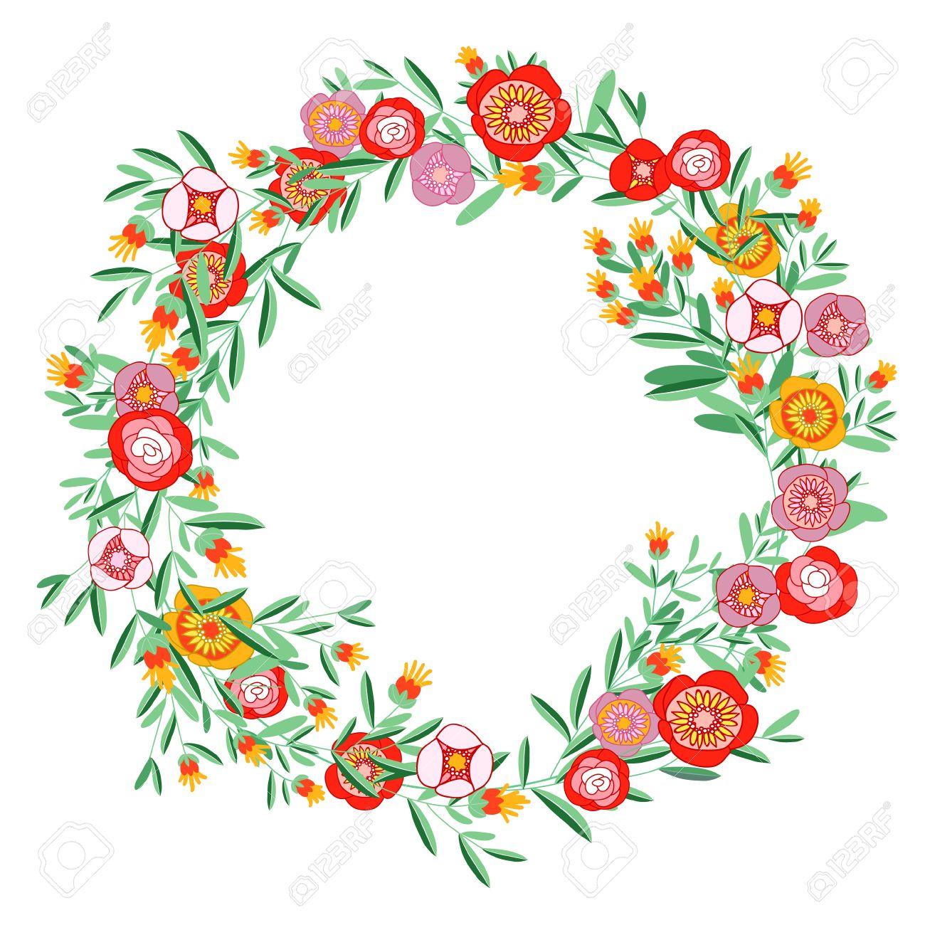 circle floral wreath clip art.