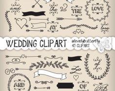 Hand draw wreath laurel clipart, wedding invitation digital.