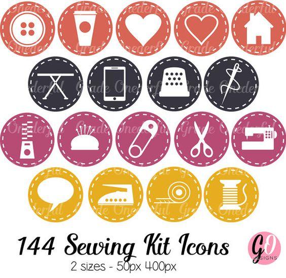 Sewing Icons White Border Stitching Orange Navy by BarbaraLeyne.