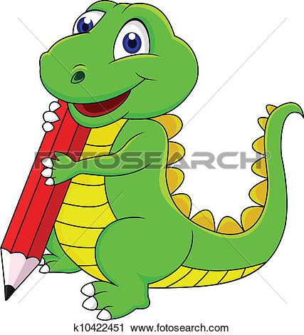 Clip Art of Cute green dinosaur cartoon k16177499.