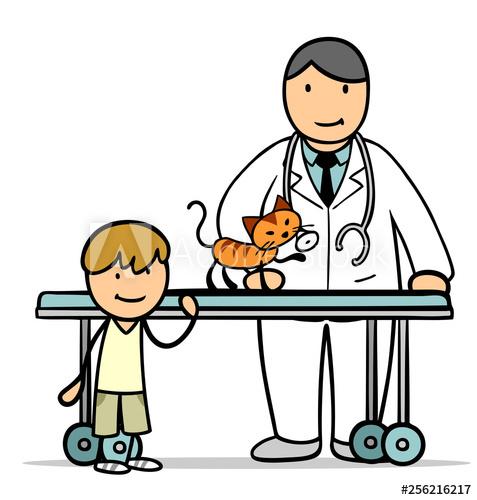 Cartoon Kind mit Katze beim Tierarzt.
