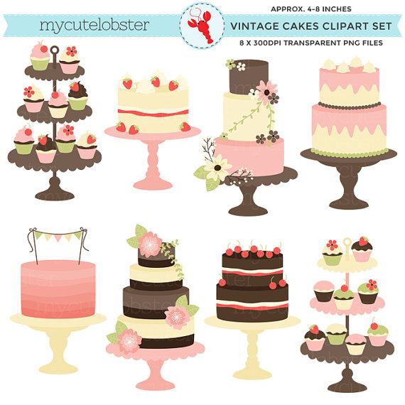 Classic Vintage Cakes Clipart Set.