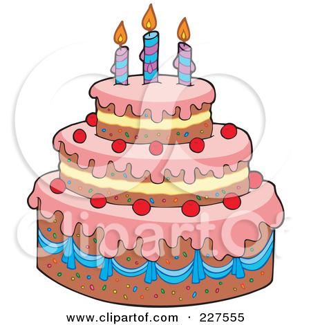 Tiered birthday cake clipart.