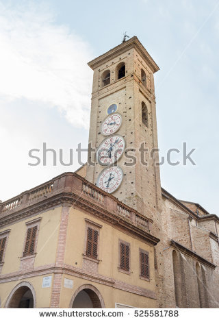 Tiered rotund clock tower clipart #5
