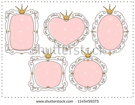Set of cute doodle mirrors. Princess vector element of.