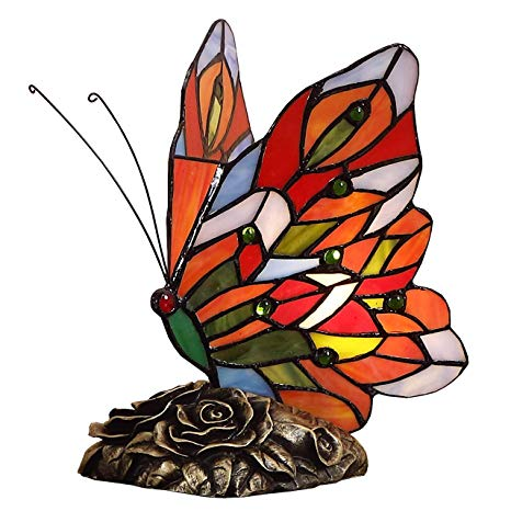 Bieye L10043 Butterfly Tiffany Style Stained Glass Accent Table Lamp  (Multi.