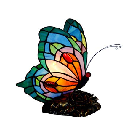 TopDeng Tiffany Style Butterfly Wall lamp, E12 Wall Sconce.