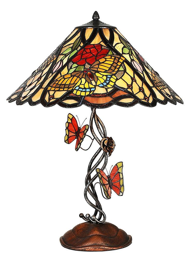 Tiffany Style Butterfly Stained Glass Elaborate Base Table.