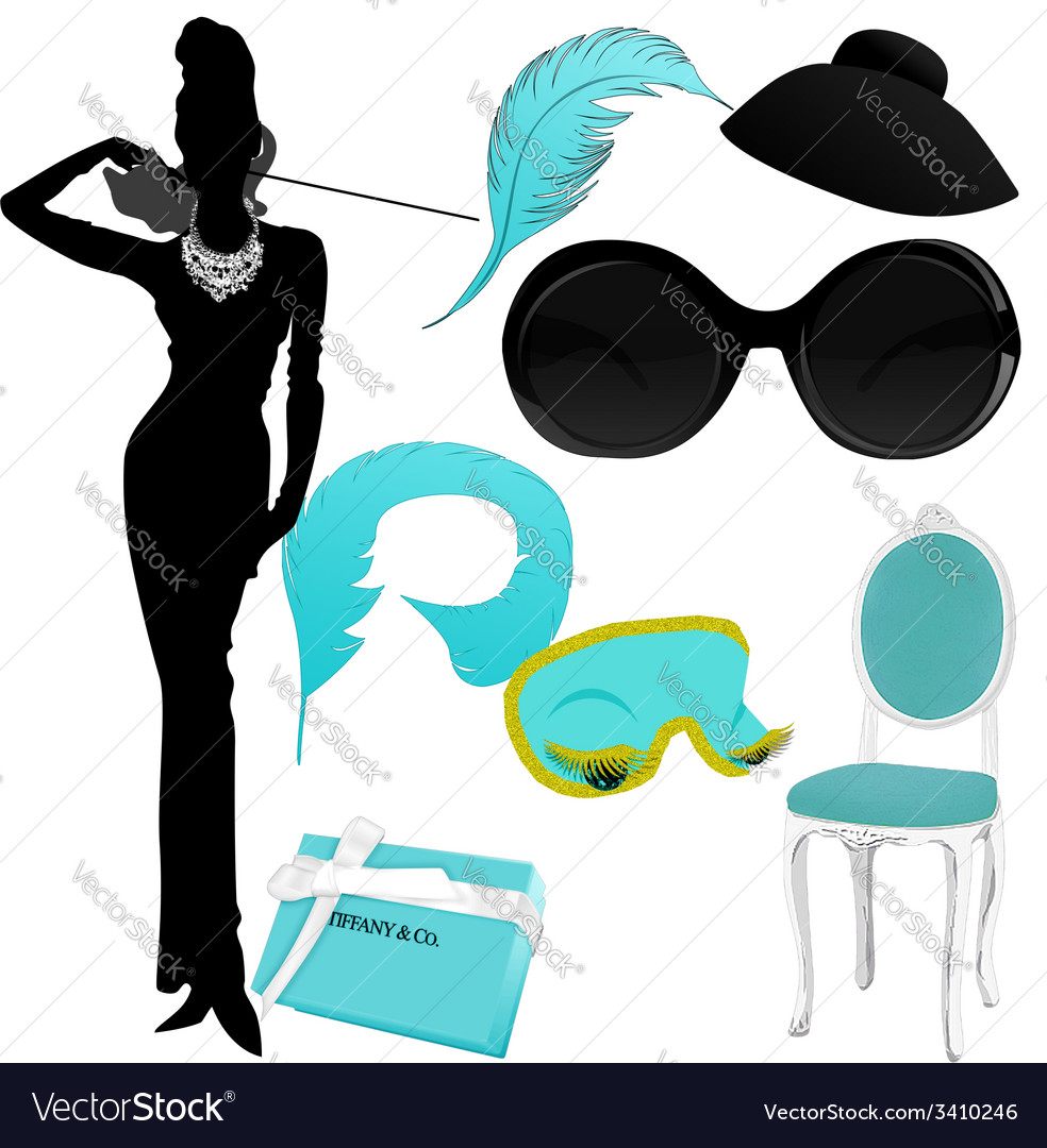 Breakfast at Tiffany clipart Royalty Free Vector Image.