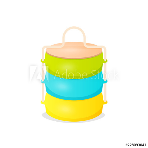 Colorfull cartoon indian tiffin box icon. Clipart image.
