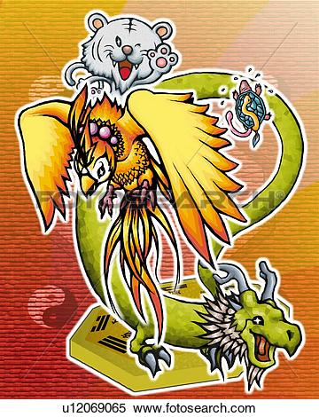 Stock Illustration of Turtle, dragon, red Chinese phoenix, and.