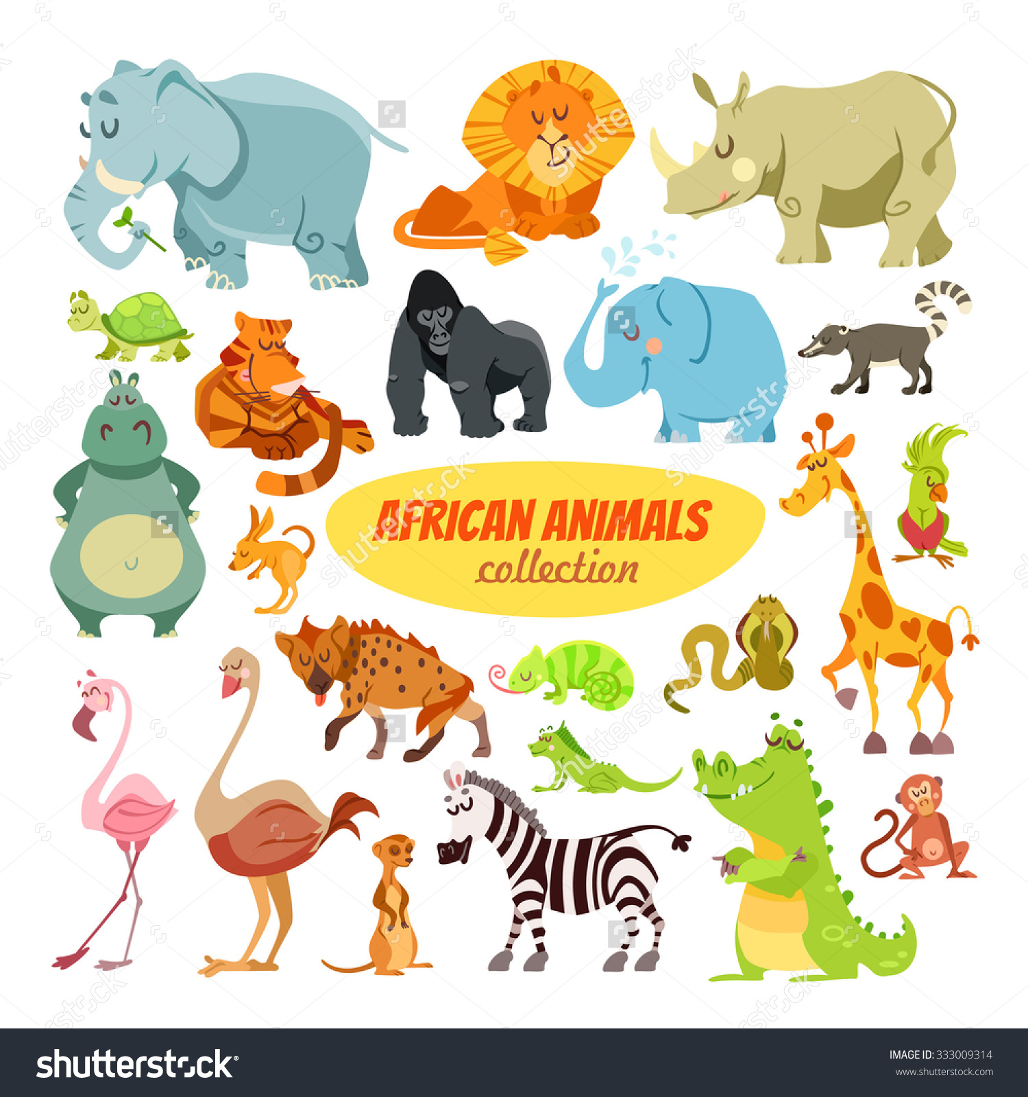 Big Set Cartoon Safari Animals.