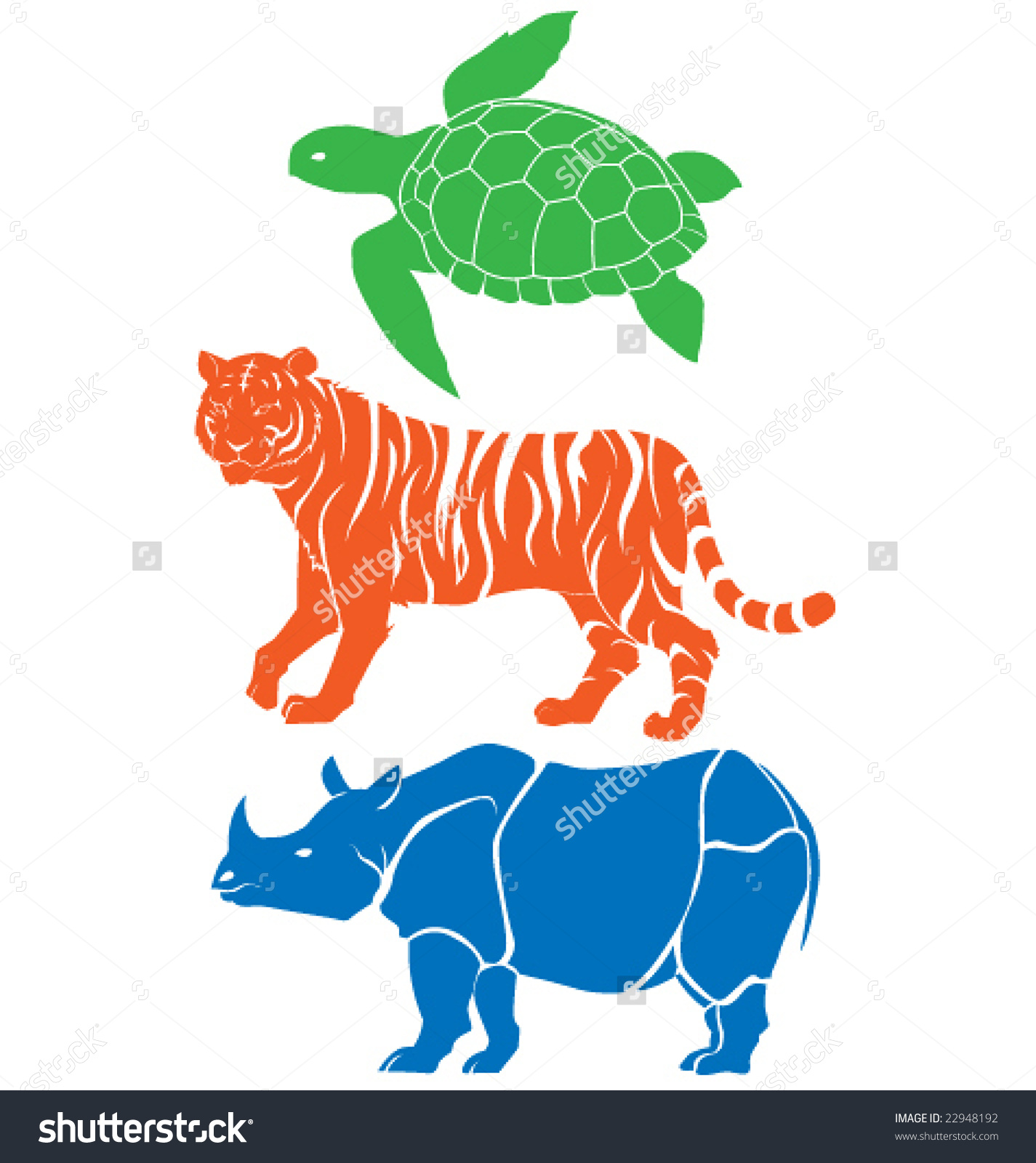 Rhino, Tiger And Sea Turtle Vector.