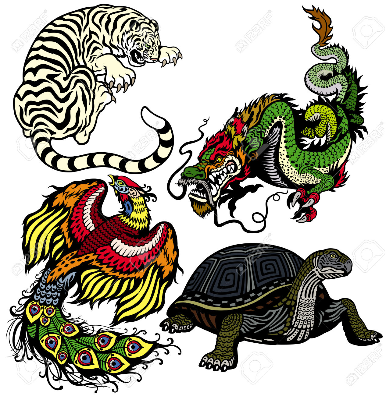 Dragon,tiger,turtle And Phoenix Set Of Four Celestial Feng Shui.