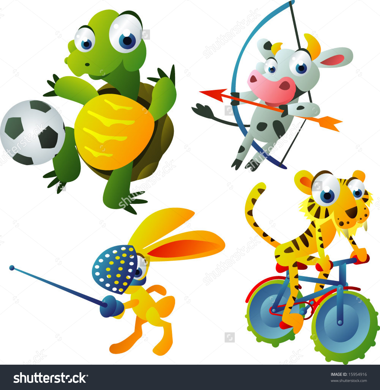 Vector Animal 42: Olympic Games Set: Turtle, Cow, Hare, Tiger.