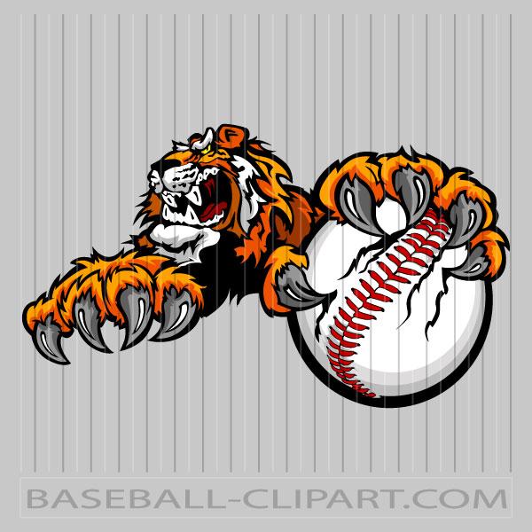 Tiger Baseball Cartoon Image. Easy to Edit Vector Format..