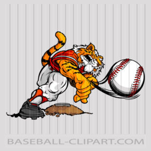 Tiger Baseball Clipart Image. Easy to Edit Vector Format..