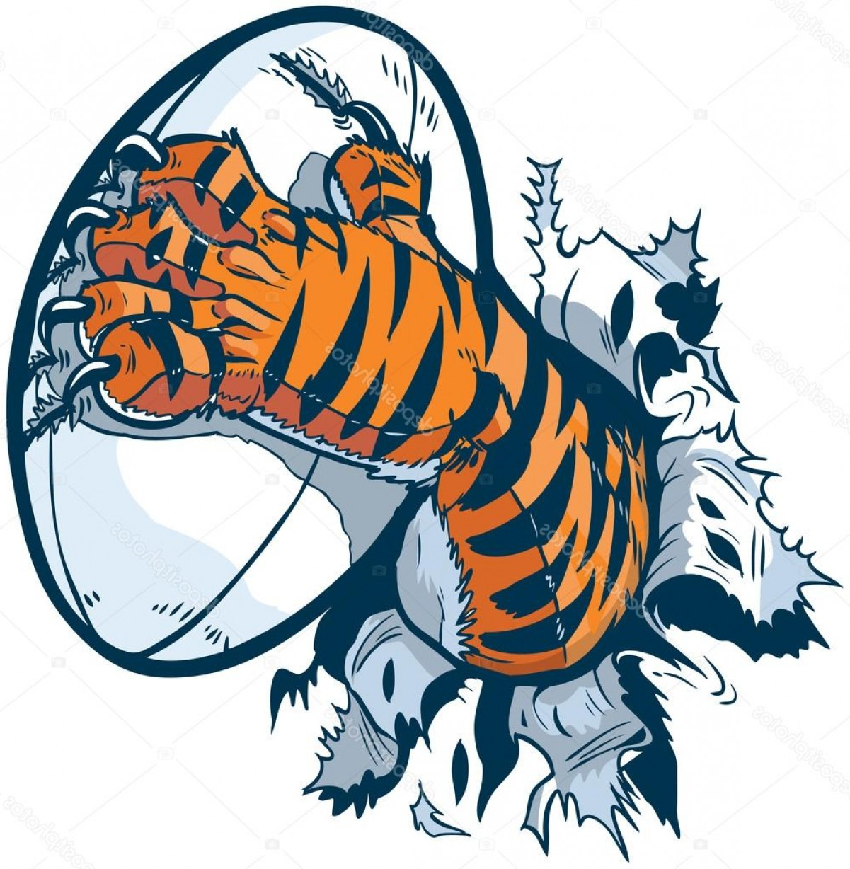 Stock Illustration Tiger Paw Gripping Rugby Ball.