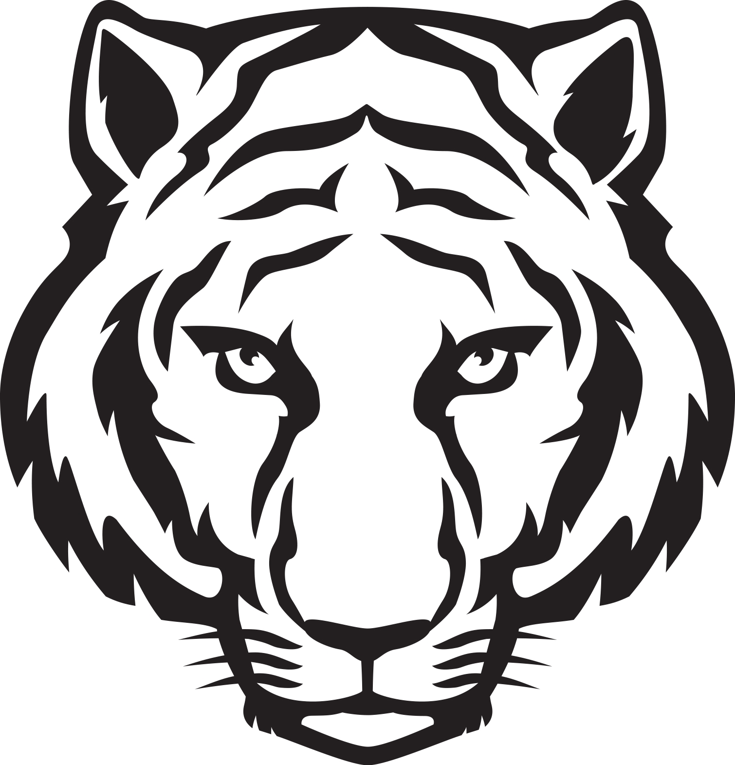 Tiger clipart easy.