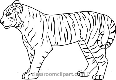 Tiger black and white free black and white animals outline.