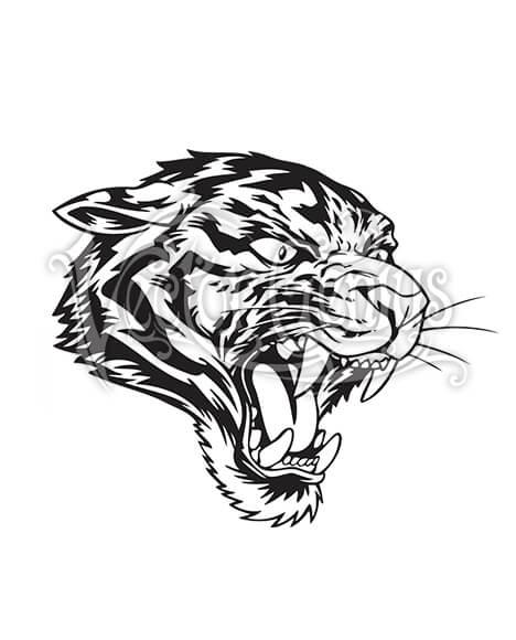 Vector Genius Roaring Tiger Logo StockArt.