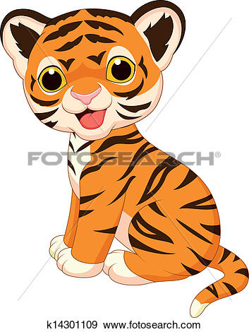 Clip Art of Cute tiger cartoon sitting k14799167.