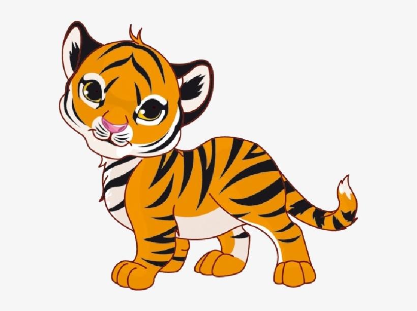 Tiger Cubs Cute Cartoon Animal Images On A Transparent.
