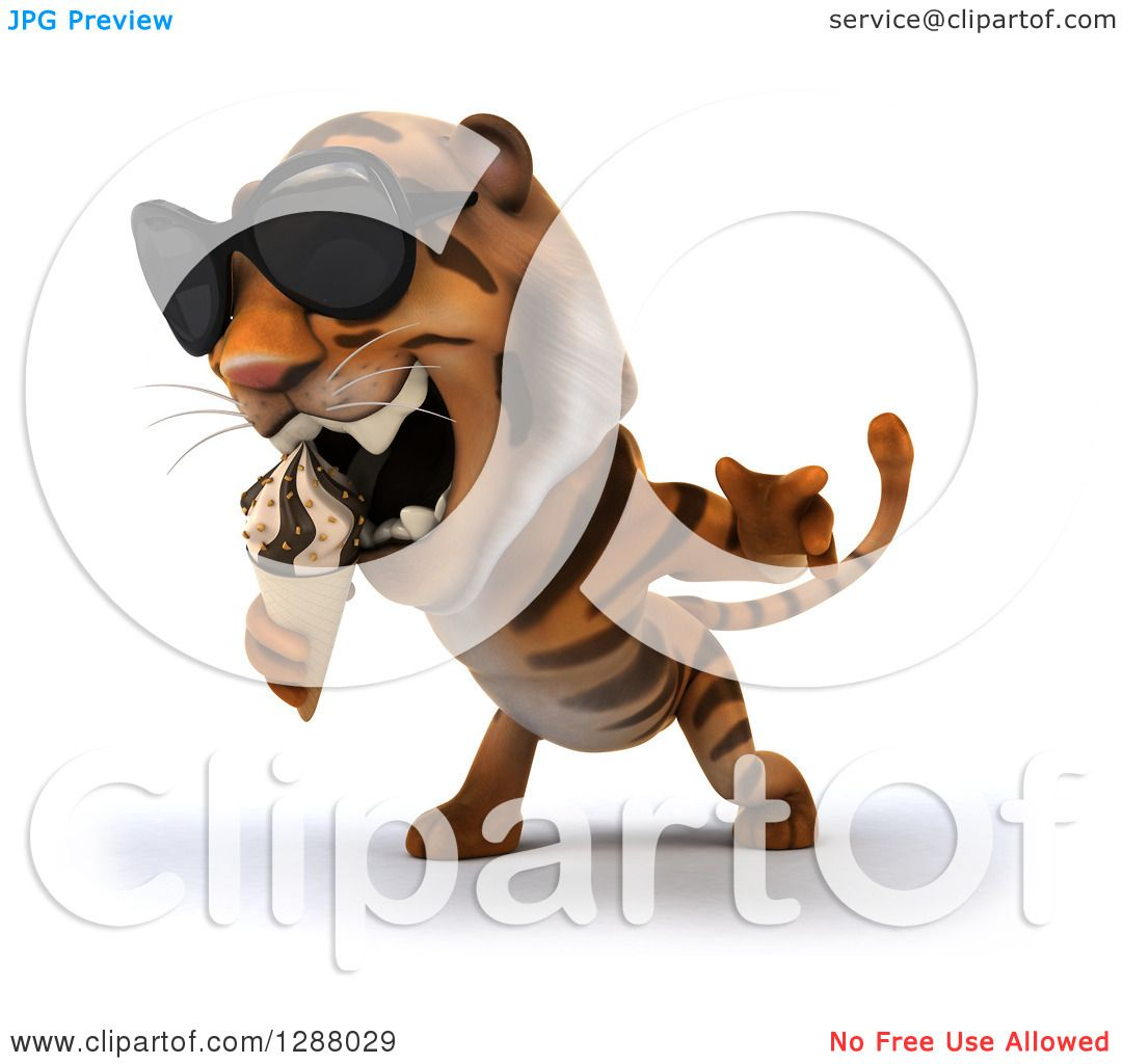 Clipart of a 3d Tiger Wearing Sunglasses, Facing Slightly Left and.