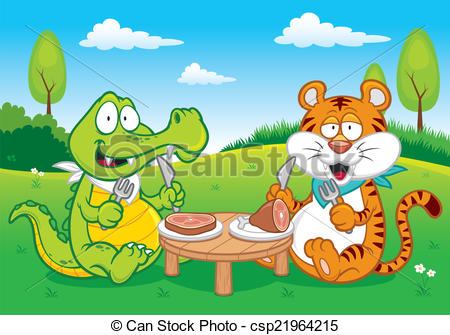 Vector Clip Art of Crocodile and tiger.