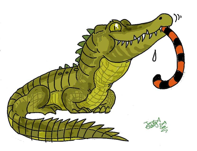 Croc eats tiger by HodariNundu on DeviantArt.