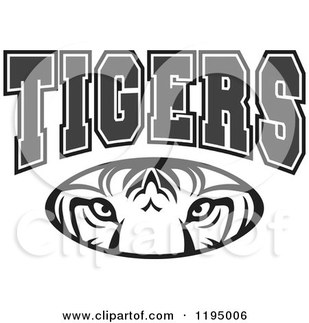 Clipart of a Black and White Tiger Eyes Oval.