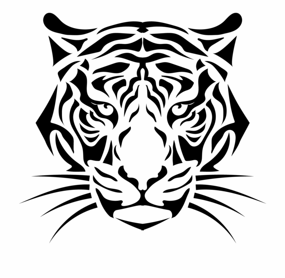 Striped Tiger Head With Whiskers Sticker.