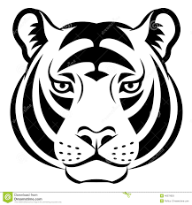 Image result for tiger face clipart black and white.