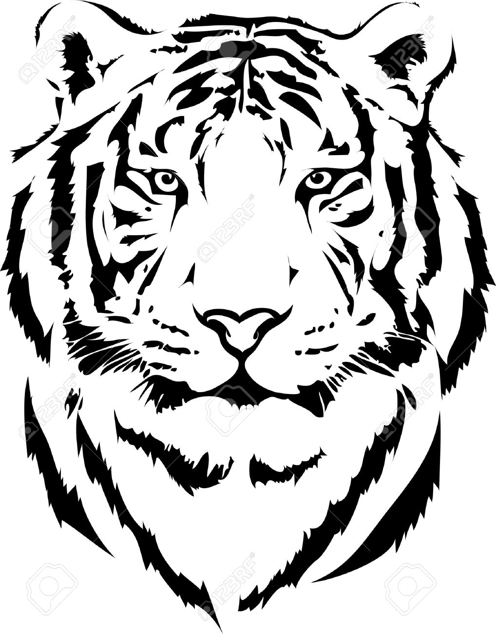 Tiger Head Black And White Clipart.