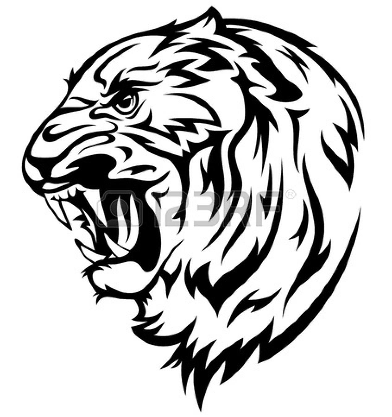 Tiger face clip art black.