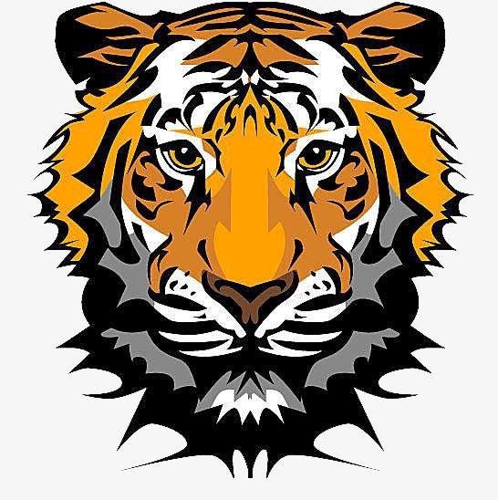 Face Paralyzed Tiger, Face Clipart, Tiger Clipart, Orange.