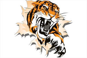 Tiger Playing Football Clipart.