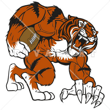 Mascot Clipart Image of A Cool Football Tiger In Color http://www.