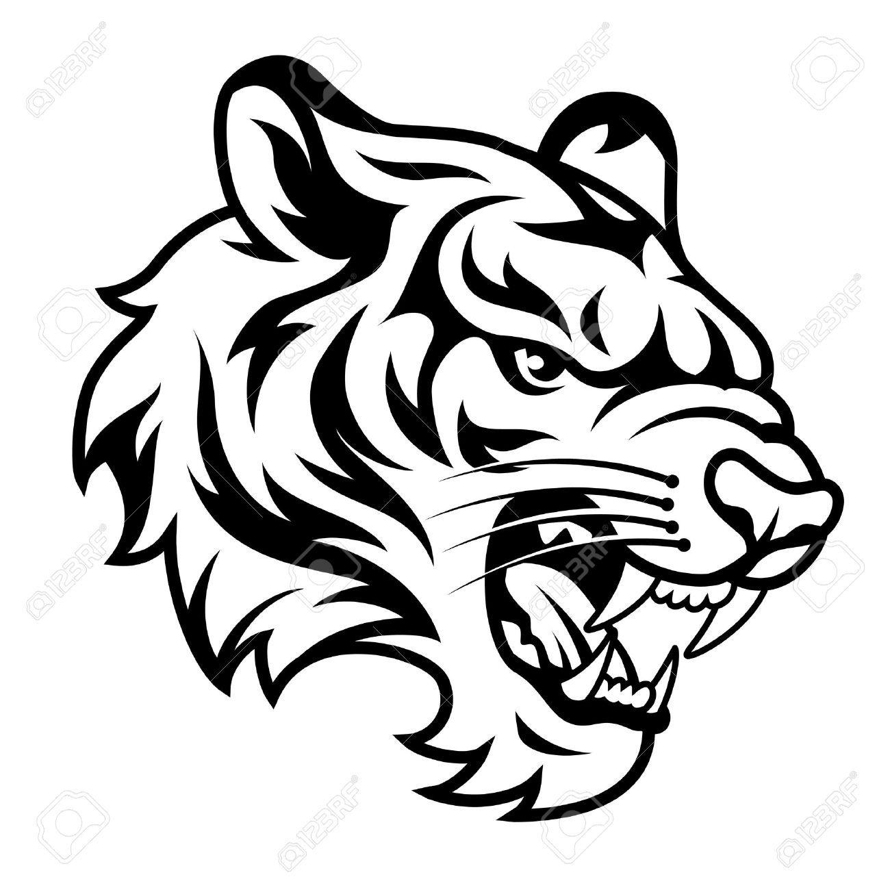 Tiger head clipart black and white 9 » Clipart Portal.