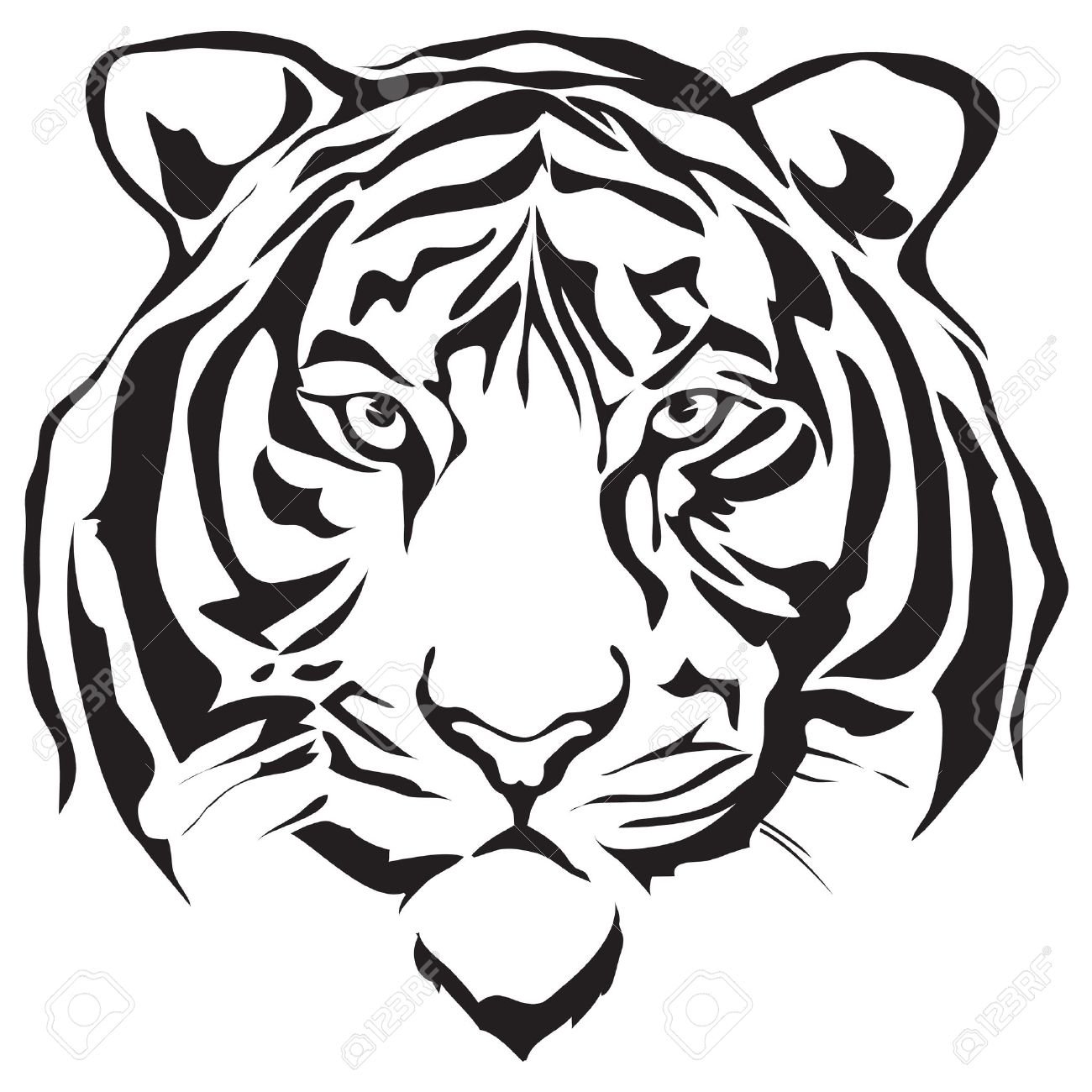 Tiger head clipart black and white 3 » Clipart Station.