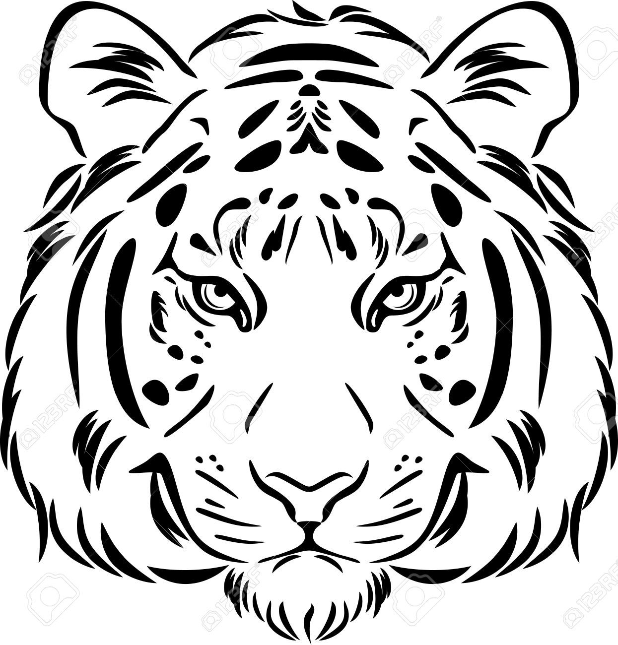 Tiger head clipart black and white 8 » Clipart Portal.