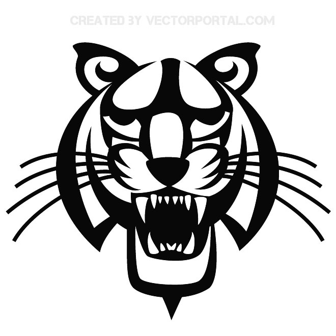 Tiger Head Illustrator Free Vector.