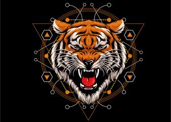 tiger head geometric t shirt designs for sale.