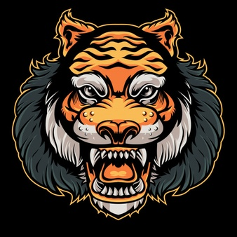 Tiger head angry vector Vector.