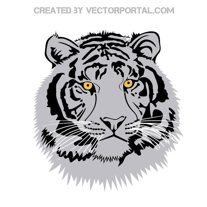 Tiger Head Clip Art Free Vector.