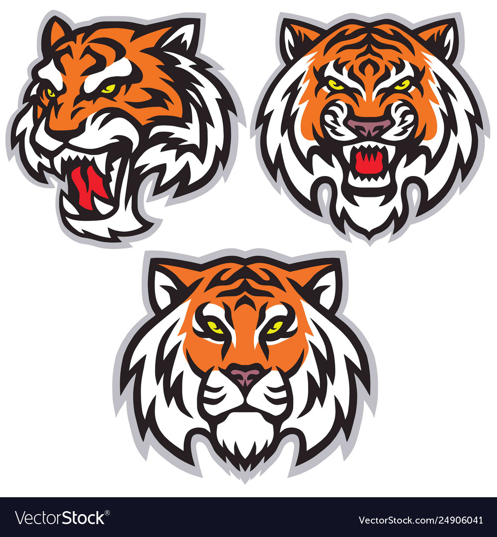 Tiger head logo set template mascot design.